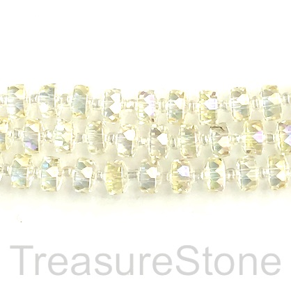 Bead, crystal, clear AB, 5x7mm faceted tube. 13inch, 46pcs