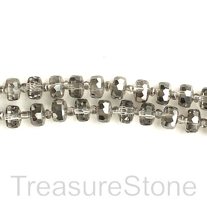 Bead, crystal, black diamond, 5x7mm faceted tube. 14inch, 48pcs