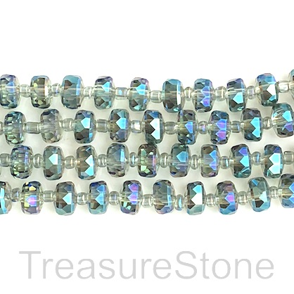 Bead, crystal, peacock, 5x7mm faceted tube. 14inch, 48pcs