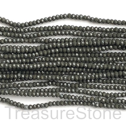 Bead, crystal, dark greenish grey, 2x3mm faceted rondelle. 17""