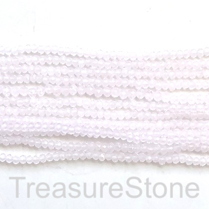 Bead, crystal, light pink transparent, 2x3mm rondelle.17""