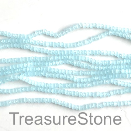 Bead, crystal, aquamarine, 2x3mm faceted rondelle. 16 inch