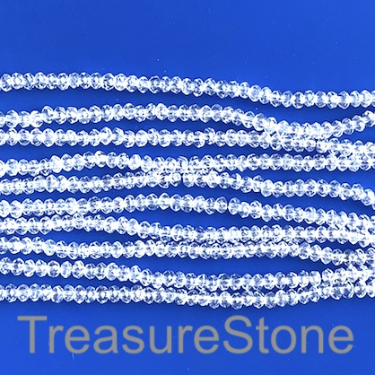Bead, crystal, clear, 3.5x4mm faceted rondelle. 18.5 inch