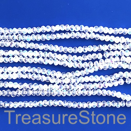 Bead, crystal, clear AB, 2x3mm faceted rondelle. 16.5 inch