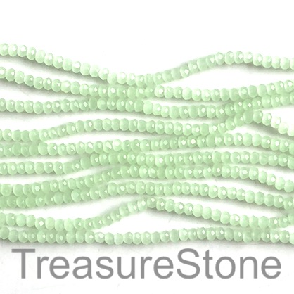 Bead, crystal, light green, 2x3mm faceted rondelle. 17 inch