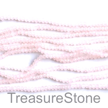 Bead, crystal, light pink, 2x3mm faceted rondelle. 16.5 inch