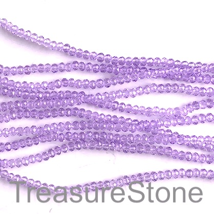 Bead, crystal, lilac, 2x3mm faceted rondelle. 16.5 inch