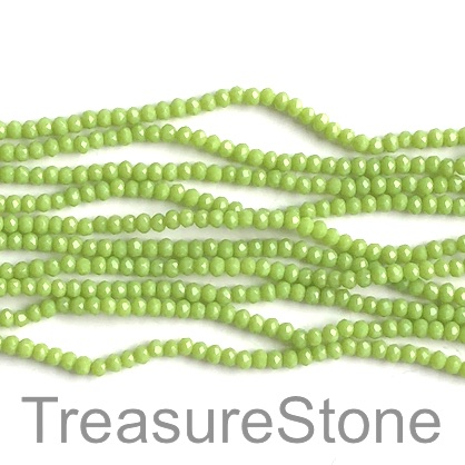 Bead, crystal, lime green, 2x3mm faceted rondelle. 18 inch