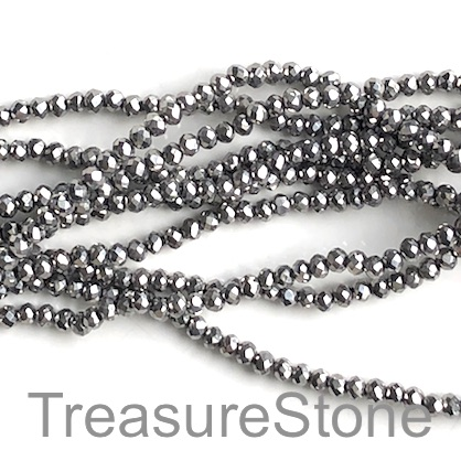 Bead, crystal, silver, 2x3mm faceted rondelle. 17 inch