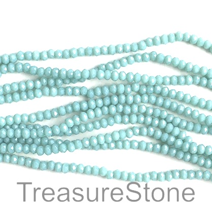 Bead, crystal, turquoise, 2x3mm faceted rondelle. 17 inch