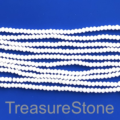 Bead, crystal, white, 2x3mm faceted rondelle. 17 inch