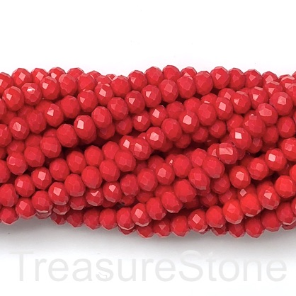 "Bead, crystal, cool red, 6x8mm rondelle, 16"", 65pcs"