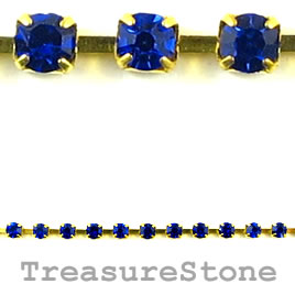 Cupchain, gold-colored, 2.5 mm blue rhinestone.1 meter/220 cups
