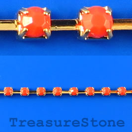 Cupchain, gold-colored, 3mm coral rhinestone.1 meter/180 cups