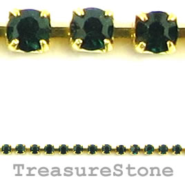 Cupchain, gold-colored, 2mm emerald rhinestone.1 meter/320 cups
