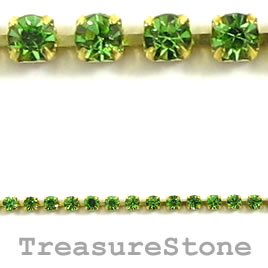 Cupchain, gold-colored, 2mm peridot rhinestone.1 meter/320 cups