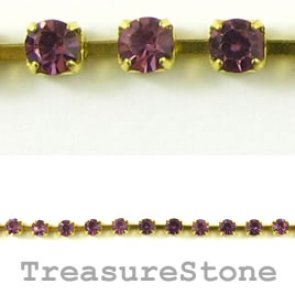 Cupchain, gold-colored, 2.5mm purple rhinestone.1 meter/220 cups