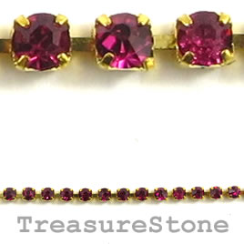 Cupchain, gold-colored, 2mm Ruby rhinestone.1 meter/320 cups