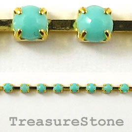 Cupchain,gold-colored, 3mm turquoise rhinestone.1 meter/180 cups