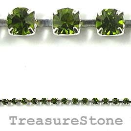 Cupchain, silver-colored,2.5mm green rhinestone.1 meter/250 cups