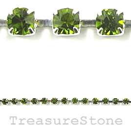 Cupchain, silver-colored,2mm peridot rhinestone.1 meter/320 cups