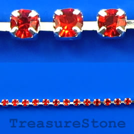 Cupchain, silver-colored, 2mm red rhinestone.1 meter/320 cups