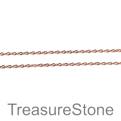 Chain, brass, rose gold coloured, 1mm curb. Pkg of 1 meter.