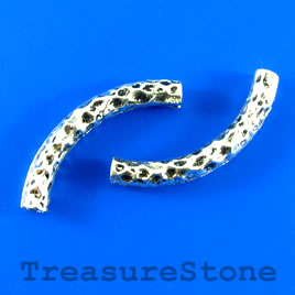 Bead,silver-finished, 42mm, 5mm thick, curved tube. 3pcs