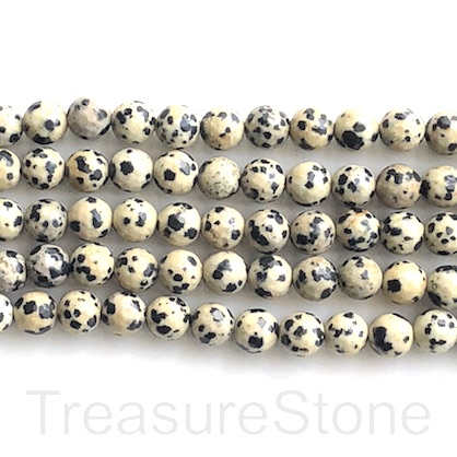 Bead, dalmatian jasper, 8mm, faceted round. 15-inch, 46pcs