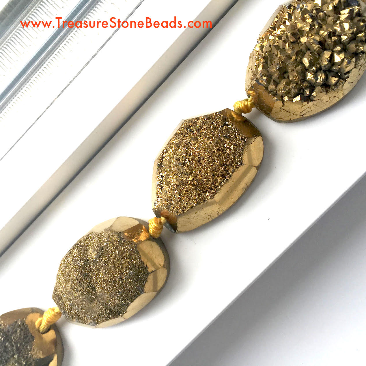 Bead, gold druzy agate, flat back nugget, about 27x37mm. 5pcs.