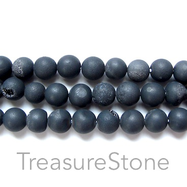 Bead, Druzy Agate (e-plated), black, 10mm round. 15.5-inch.