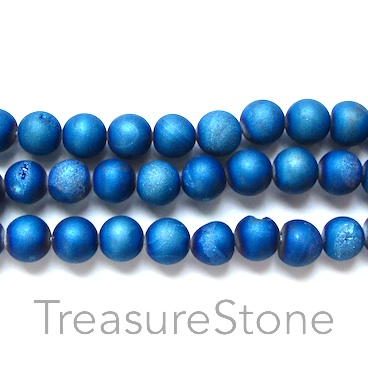 Bead, Druzy Agate (e-plated), blue, 6mm round. 15.5-inch.