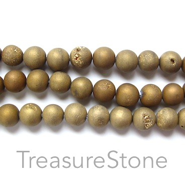 Bead, Druzy Agate (e-plated), gold, 10mm round. 15.5-inch.