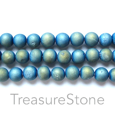 Bead, Druzy Agate (e-plated), light blue, 10mm round. 15.5-inch.