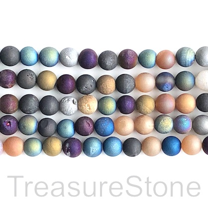 Bead, Druzy Agate (e-plated), mixed, 8mm round. 15-inch, 46pcs