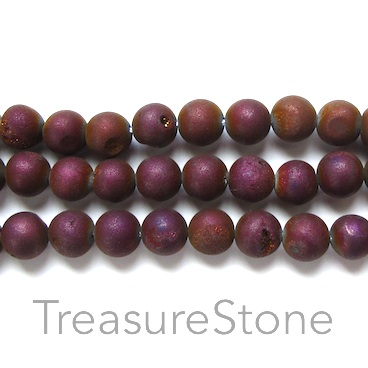 Bead, Druzy Agate (e-plated), purple, 8mm round. 15.5-inch.