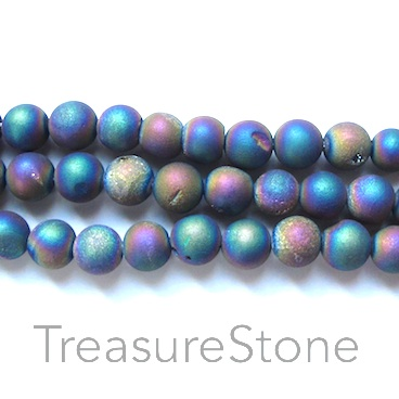 Bead, Druzy Agate (e-plated), rainbow, 8mm round. 15.5-inch.