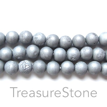 Bead, Druzy Agate (e-plated), silver, 6mm round. 15.5-inch.