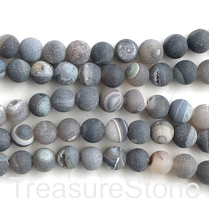 "Bead, Druzy Agate, dark grey, 8mm round, grade B, 15.5"", 48pcs"