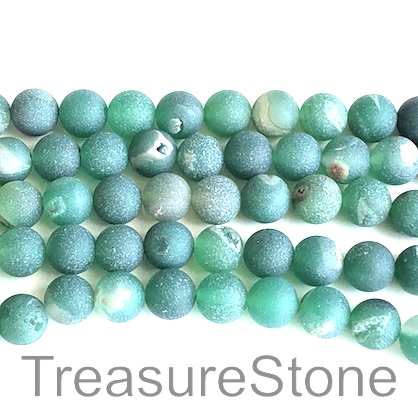 Bead, Druzy Agate,dyed, green, 8mm round, grade B,15-inch, 47pcs