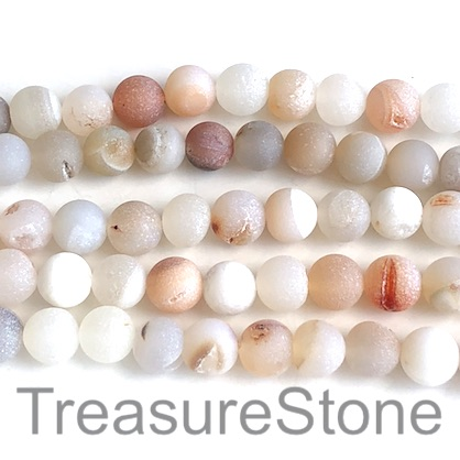 Bead, Druzy Agate, natural, 8mm round, grade B, 15-inch, 47pcs