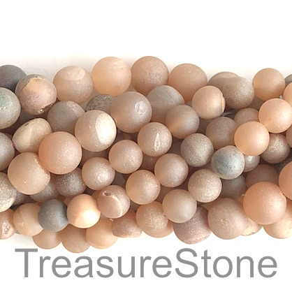 Bead, Druzy Agate,champagne, grade B,10mm round. 14.5-inch,37pcs