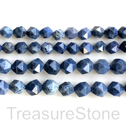 Bead, dumortierite, 10mm faceted, star cut. 15.5-inch, 38pcs