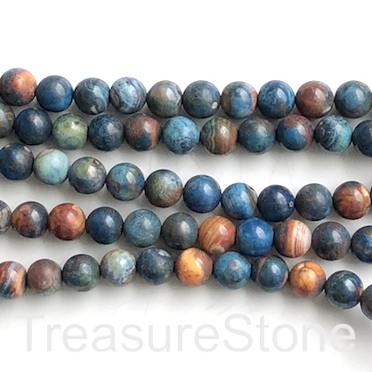 Bead, agate (dyed), blue, orange, 8mm round. 15-inch, 46pcs