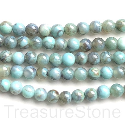 Bead, agate (dyed), turquoise, 8mm round. 14-inch strand, 46pcs