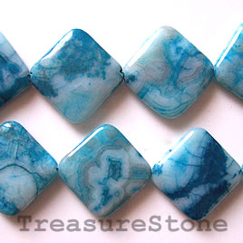 Bead, crazy lace agate (dyed), 28mm flat diamond. 15.5 inch