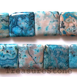 Bead, crazy lace agate (dyed), 20mm flat square, 15.5 inch.