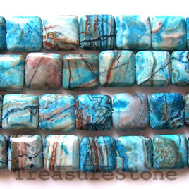 Bead, crazy lace agate (dyed), 16mm flat square, 15.5 inch.