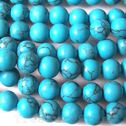 Bead, dyed howlite, 6mm round. Sold per 16-inch strand.
