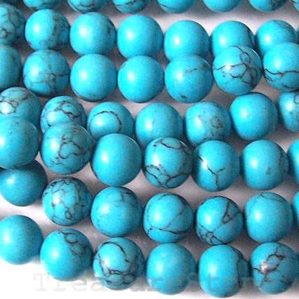 Bead, dyed howlite, 8mm round. Sold per 16-inch strand.